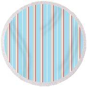 Blue Stripe Pattern Round Beach Towel