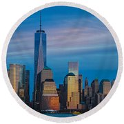Blue Sunset At The World Trade Center Round Beach Towel by Eleanor Abramson