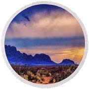 Blue Sunset Nm-az Round Beach Towel by Diana Mary Sharpton