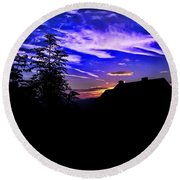 Round Beach Towel featuring the photograph Blue Sunset In Poland by Mariola Bitner