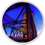 Round Beach Towel featuring the photograph Blue Sunset- by JD Mims