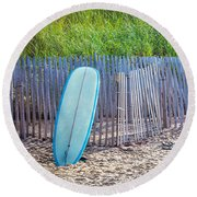 Blue Surfboard At Montauk Round Beach Towel by Art Block Collections