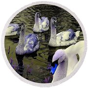 Blue Swan Round Beach Towel