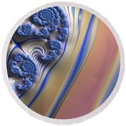 Blue Swirly Fractal 2 Round Beach Towel