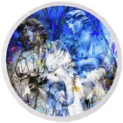Blue Symphony Of Angels Round Beach Towel