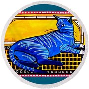 Round Beach Towel featuring the painting Blue Tabby - Cat Art By Dora Hathazi Mendes by Dora Hathazi Mendes