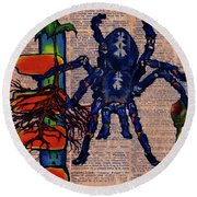 Blue Tarantula Round Beach Towel by Emily McLaughlin