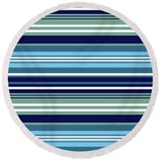 Blue Teal And White Summer Stripes Pattern Round Beach Towel