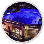 Blue Tiger Stadium Round Beach Towel