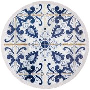 Blue Tile Of Portugal Round Beach Towel