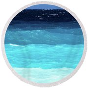 Blue Tones Of Ionian Sea Round Beach Towel