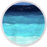 Blue Tones Of Ionian Sea Round Beach Towel