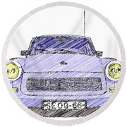 Blue Trabant Round Beach Towel