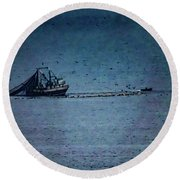 Blue Trawler 1 Round Beach Towel