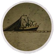 Blue Trawler 2 Round Beach Towel