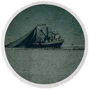 Blue Trawler 3 Round Beach Towel