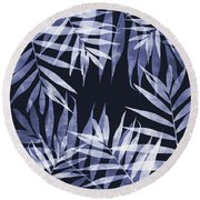 Blue Tropical Leaves Round Beach Towel