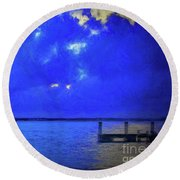 Blue Twilight Round Beach Towel