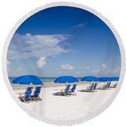 Blue Umbrellas Round Beach Towel
