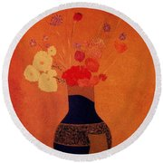 Blue Vase Round Beach Towel
