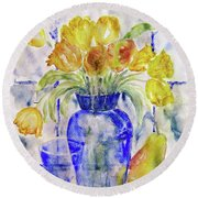 Round Beach Towel featuring the painting Blue Vase by Jasna Dragun