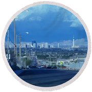 Blue Vegas Round Beach Towel