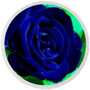 Blue Velvet Rose Round Beach Towel