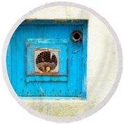 Blue Ventilator Panel Round Beach Towel