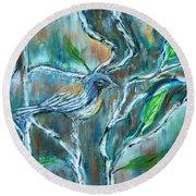 Blue Warbler In Birch Round Beach Towel
