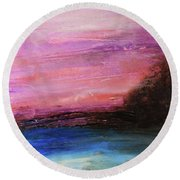 Blue Water Abstract Round Beach Towel