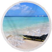 Blue Water And White Sand Round Beach Towel