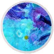 Blue Water Flower Round Beach Towel