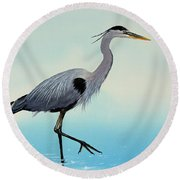 Round Beach Towel featuring the painting Blue Water Heron by James Williamson