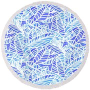 Blue Water Leaves Round Beach Towel
