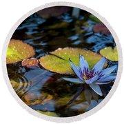 Blue Water Lily Pond Round Beach Towel
