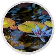 Blue Water Lily Pond Round Beach Towel