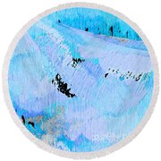 Blue Water Wet Sand Round Beach Towel