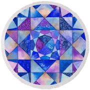 Blue Watercolor Quilt Round Beach Towel