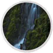 Round Beach Towel featuring the photograph Blue Waterfall by Yulia Kazansky