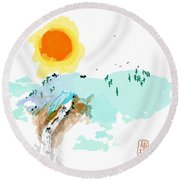 Blue Waterfalll Round Beach Towel by Debbi Saccomanno Chan