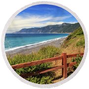 Round Beach Towel featuring the photograph Blue Waters Of The Lost Coast by James Eddy