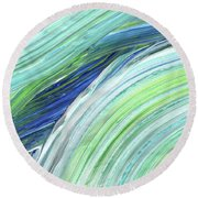 Blue Wave Abstract Art For Interior Decor I Round Beach Towel