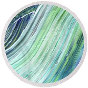 Blue Wave Abstract Art For Interior Decor II Round Beach Towel