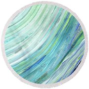 Blue Wave Abstract Art For Interior Decor IIi Round Beach Towel