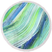 Blue Wave Abstract Art For Interior Decor Iv Round Beach Towel