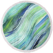 Blue Wave Abstract Art For Interior Decor Vi Round Beach Towel