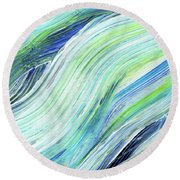 Blue Wave Abstract Art For Interior Decor Vii Round Beach Towel
