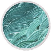 Blue Wave Abstract Art For Interior Decor Viii Round Beach Towel