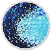 Blue Wave Art - Pieces 7 - Sharon Cummings Round Beach Towel by Sharon Cummings