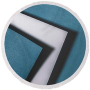 Blue White Blue Round Beach Towel